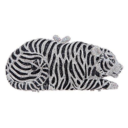 Tiger Clutch (Fawziya Mini Tiger Clutch Purse Bling Rhinestone Clutch Evening Bag-Silver)