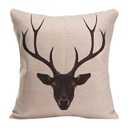 Skull Head Printed Pillow Cover Cotton Linen Cushion Case - 9