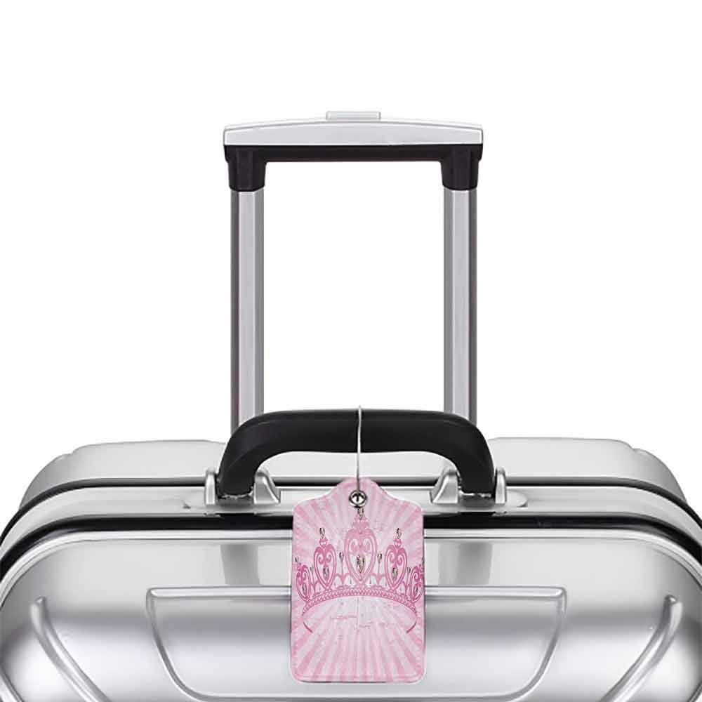 Printed luggage tag Queen Childhood Theme Pink Heart Shaped Princess Crown on Radial Backdrop Girls Room Protect personal privacy Pink Light Pink W2.7 x L4.6