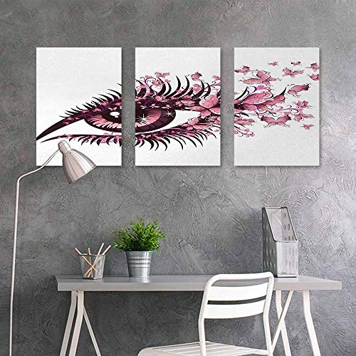 (BE.SUN Abstract Oil Paintings Sticker,Butterflies,Fairy Female Eye with Butterflies Eyelashes Mascara Stare Party Makeup,Contemporary Abstract Art 3 Panels,16x31inchx3pcs,Light Pink Purple)