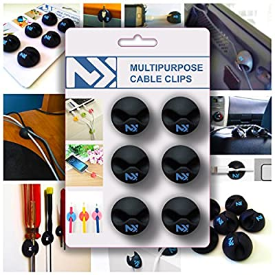 Best Long Lasting - Set of 6 Multipurpose Cable Clips - Ideal Way To Organize Cords And Workspace - 100% Satisfaction.