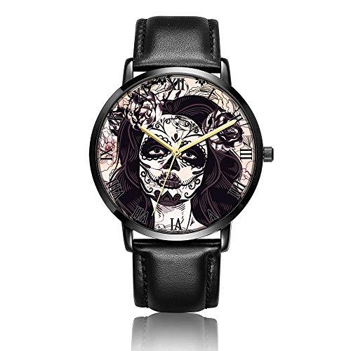 Whiterbunny Customized Sugar Skull Makeup Wrist Watch Unisex Analog Quartz Fashion Black Leather Bracelet Wristwatch for Women and Men -