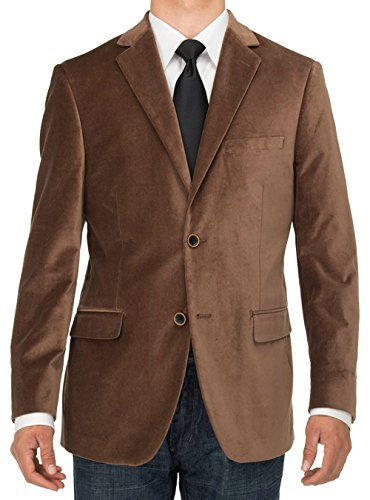 LN LUCIANO NATAZZI Mens 2 Button Velvet Blazer Working Buttonholes Suit Jacket (42 Long US / 52 Long EU, Camel)