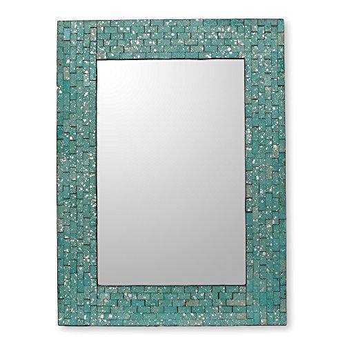 NOVICA Glass mosaic wall mirror, Aqua - Mirror Aqua
