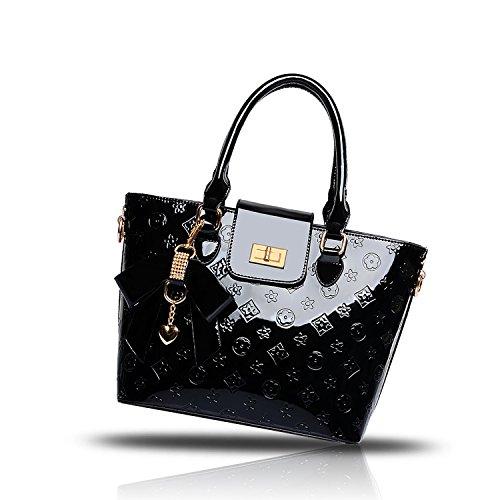 Shoulder Tisdaini Leather Bag Handbag Large Women's Capacity Patent Messenger Black PU Embossed 1SZ18r