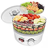 NutriChef Food Dehydrator Machine - Professional Electric Multi-Tier Food Preserver, Meat or Beef Jerky Maker, Fruit & Vegetable Dryer with 4 Stackable Trays - (PKFD08)