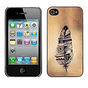 All Phone Most Case / Hard PC Metal piece Shell Slim Cover Protective Case Carcasa Funda Caso de protección para Apple Iphone 4 / 4S feather Indian native parchment rustic