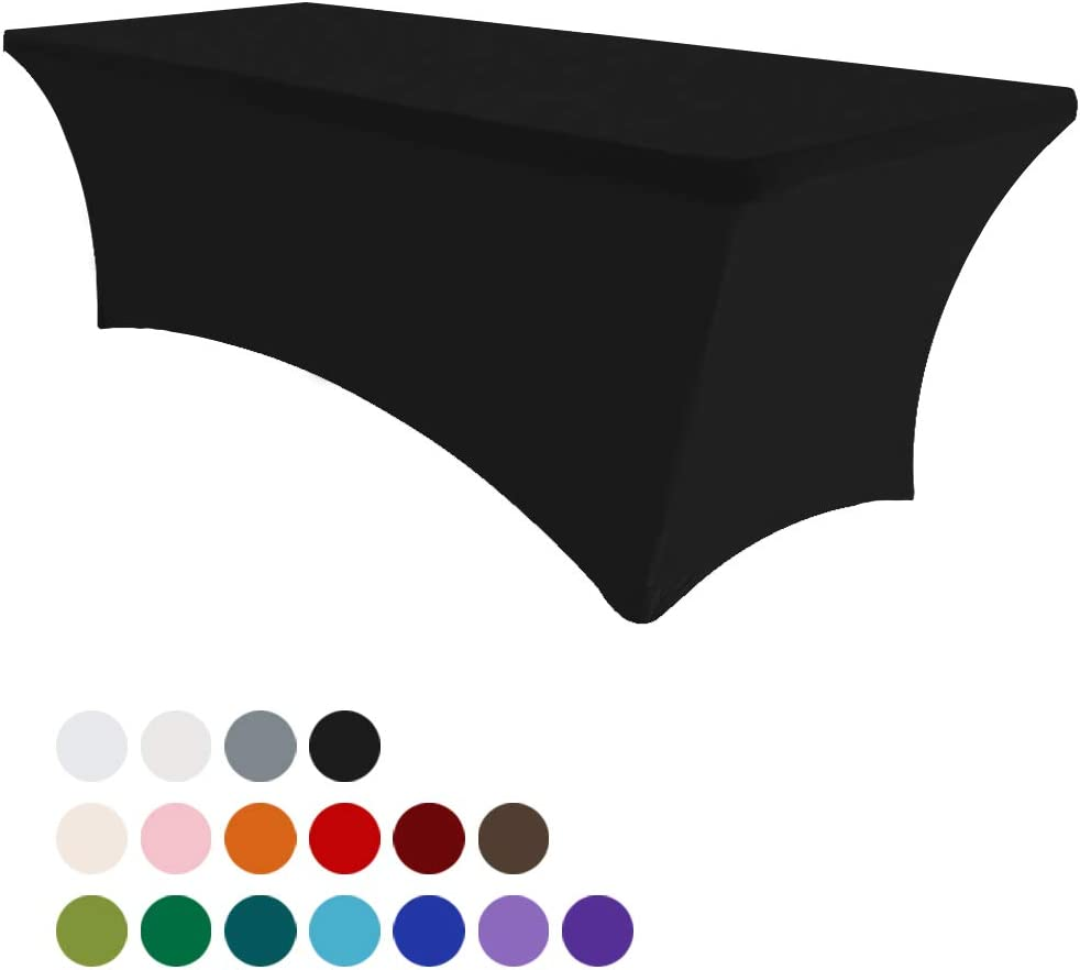 Eurmax 6Ft Rectangular Fitted Spandex Tablecloths Wedding Party Table Covers Event Stretchable Tablecloth (Black): Home & Kitchen