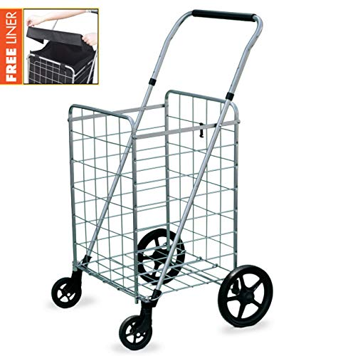 (Wellmax Grocery Shopping Cart with Swivel Wheels – Foldable & Collapsible Utility Cart with Adjustable Height Handle – Space Saving Heavy Duty Light Weight Trolley)