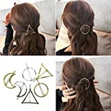 #7: BeautyMood 6pcs Minimalist Dainty Gold Silver Hollow Geometric Metal Hairpin Hair Clip Clamps,Circle, Triangle and Moon