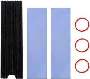 icepc-DIY M.2 2280 Aluminum Heatsink Heat Dissipation Strip More Grooves Heatsink Better Heat Dissipation Heatsink Vest for NGFF SSD Nvme SSD Heat Sink Vest Cooling Armor (N90, Black)