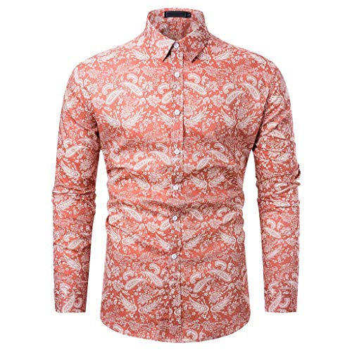 Birdfly Men's Leaves Printed Long Sleeve Shirts Fashion Cultivation Blouse Shirts (M, -