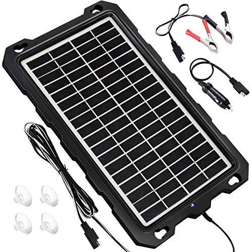POWOXI Solar Battery Charger Car, 7.5W 12V Solar Trickle Charger for Car Battery, Portable and Waterproof Solar Battery Maintainer, High Conversion Polysilicon Solar Panel car Battery Charger for (Best Solar Battery Maintainer)