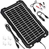 Solar Battery Charger Car, 7.5W 12V Solar Trickle Charger for Car Battery, Portable and Waterproof Solar Battery Maintainer, Amorphous Silicon Solar Panel car battery charger for RV Motorcycle Boat Marine Trailer Tractor PowerSports ATVs Snowmobile