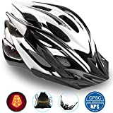 Basecamp Specialized Bike Helmet, Bicycle Helmet CPSC&CE Certified with Helmet Accessories-LED Light&Removable Visor&Portable Bag Cycling Helmet BC-DDTK Adjustable for Men/Women(Blackwhite)