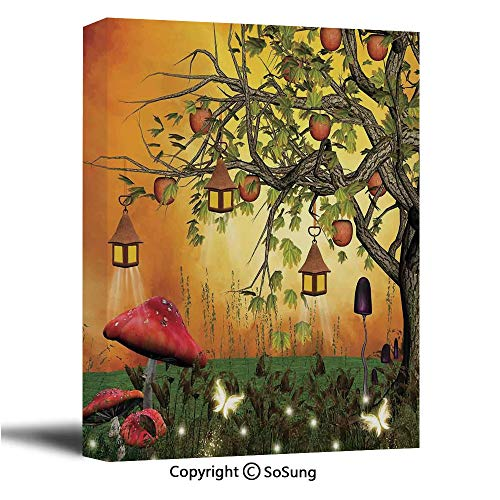 Fantasy House Decor Canvas Wall Art,Wonderland Forest with Fairies Butterflies Elves and Apple Tree Magical Universe,Giclee Print Gallery Wrap Modern Home Decor Ready to Hang,16x24 inch ()
