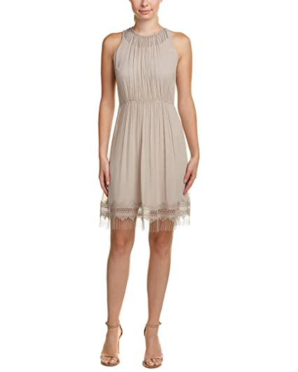 c4ee7c04aad5 Elie Tahari Womens Demetria Silk Crochet Trim Cocktail Dress Taupe 6 ...