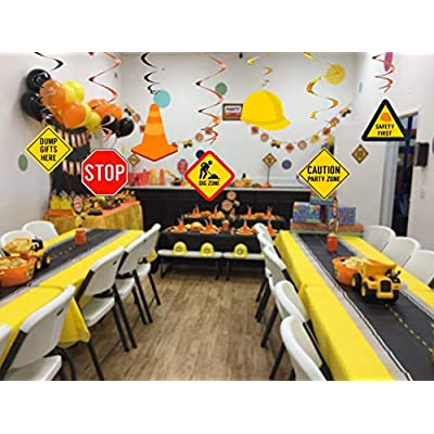 Kristin Paradise 30Ct Construction Hanging Swirl Decorations, Traffic Zone Birthday Theme Streamers, Under Construction Site Party Supplies, Kids/Boy/Toddler First Favors, Stop Sign Road Worker Decor: Toys & Games