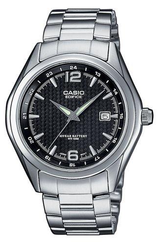 Casio EF-121D-1AVEF Ladies Watch Quartz Analogue Black Dial Silver Steel Strap