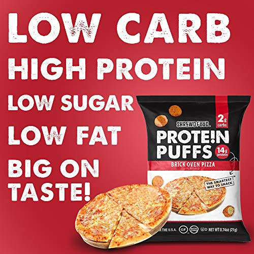 Shrewd Food Protein Puffs, Low Carb Cheese Pizza Puffs, High Protein Crunch, Keto Friendly Snack, Savory Protein Chip, 14g Protein Per Serving, 2g Carbs, Brick Oven Pizza, 8 Pack