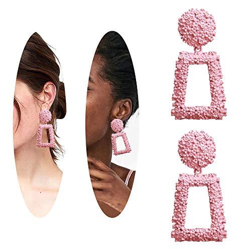(Seed Beaded Earrings - Handmade Large Square Drop Dangle Earrings, Boho Glass Bead Statement Earrings Jewelry Gift For Women Girls)