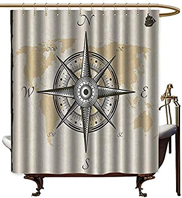 StarsART - Cortinas de ducha con diseño de brújula de cactus, brújula de latón envejecido y cuerda sobre un antiguo mapa en madera con ilustración de mesa, cortina de ducha dorada marrón