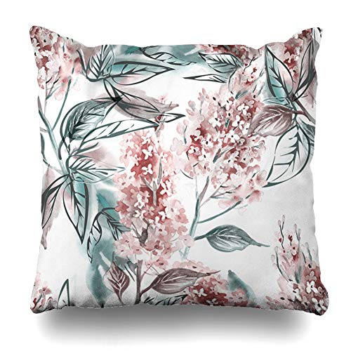 (Ahawoso Decorative Throw Pillow Cover Teal Floral Lilac Watercolor Pattern Pink Flower Abstract Blooming Mint Branch Design Tree Home Decor Pillowcase Square Size 16