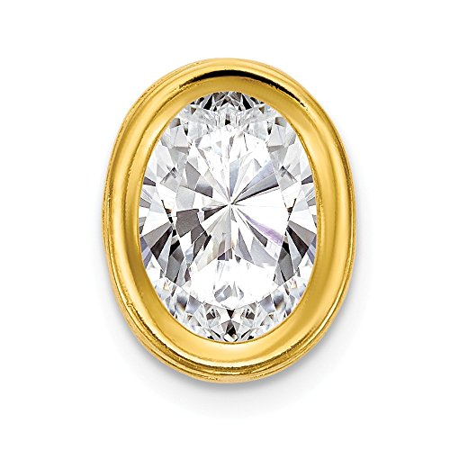 Solid 14k Yellow Gold 7x5mm Oval Cubic Zirconia Bezel Pendant