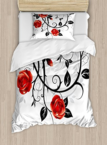 - Ambesonne Gothic Duvet Cover Set Twin Size, Ornate Swirling Branches with Roses in Garden Flower Theme Grunge Style of Europe, Decorative 2 Piece Bedding Set with 1 Pillow Sham, Vermilion Black White