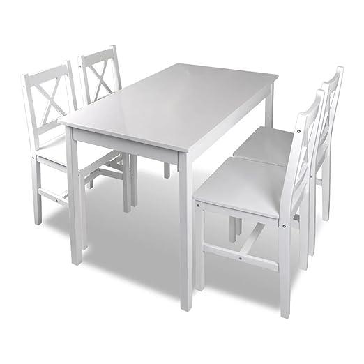 Conjunto de Comedor Mesa de Comedor con 4 Sillas para Cocina de 5 Piezas Blanco Tidyard