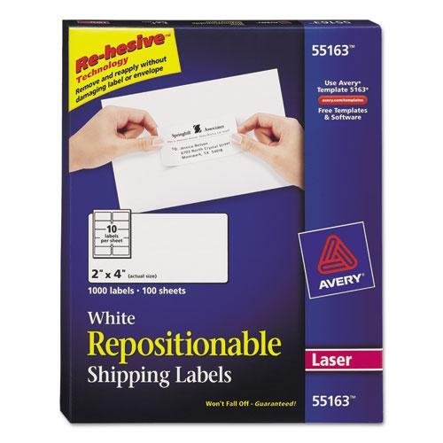 Avery Dennison 55163 AVERY WHITE REPOSITIONABLE SHIPPING LABELS F/ LASER PRINTERS