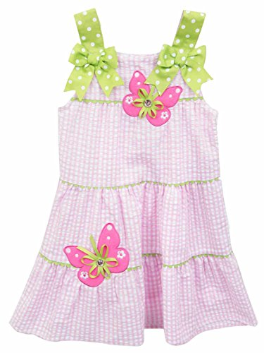 Rare Editions Toddler Girls Pink Gingham Jeweled Butterfly Sun Dress Sundress (Rare Editions Butterfly Dress)