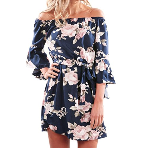 Snowfoller Women Off Shoulder Short Mini Dress Summer Causal Floral Printed Flared Drop Hem Tied Beach Party Dress (S, ()