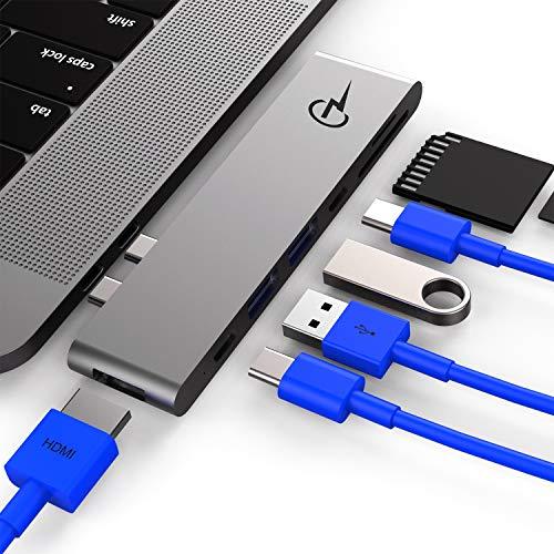 (CharJenPro MacBar USB C Hub for Apple MacBook Air 2018-2019, MacBook Pro 2016-2019, HDMI 4K, 100W Power Delivery, 40Gbps Thunderbolt 3 5K@60Hz, 2 USB 3.0, Micro SD and SD Card Reader, USBC Port)