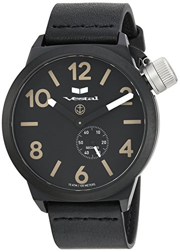 Vestal Quartz Stainless Steel and Leather Dress Watch, Color:Black (Model: CNT453L07.BK)