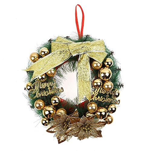 Christmas Door Wreath, HoshellWinter Silver White Red Christmas Wreath with Ball Ornaments Decorative for Front Door, Outdoor Hanger Decorative Garland 30CM (C)