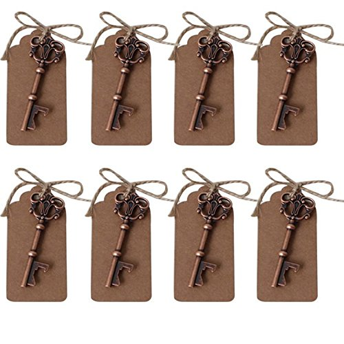 Anniversary Party Favors (AmaJOY 50 pcs Rustic Vintage Key Bottle Opener with Escort Card Tag and Twine Practical Wedding Favors Party Favors Team Favors)