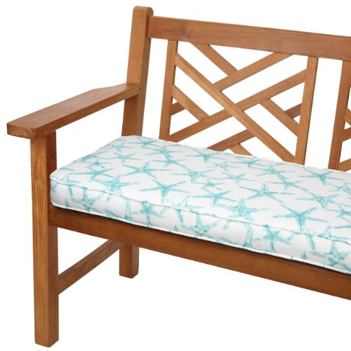 Mozaic AZCS2271 Indoor or Outdoor Bench Cushion with Corded Edges and Tie Backs, 60 inches, aqua blue
