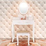 White Vanity Makeup Dressing Set Table w/Stool 4 Drawer & Mirror Wood Desk. US Stock