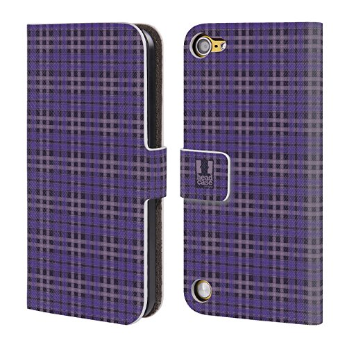 Head Case Designs Porpora Nero Plaid - Pattern Collezione Cover a portafoglio in pelle per iPod Touch 5th Gen / 6th Gen