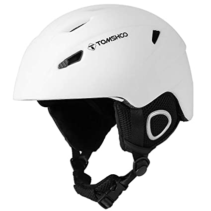 TOMSHOO Casco de esquí, Casco de Seguridad Certificado Esquí Profesional Snowboard Casco de Deportes de Nieve Orejera Desmontable Gafas integradas/Sin ...