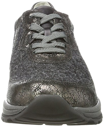 ufer Shine Hachi con Gris Iseo para Cordones Mujer Anthrazit Waldl Miniwool Schwarz Zapatos Planos Shine qzwxUqFd
