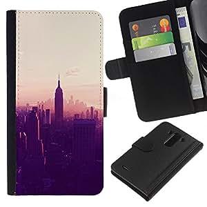 A-type (New York City Sunset Empire State) Colorida Impresión Funda Cuero Monedero Caja Bolsa Cubierta Caja Piel Card Slots Para LG G3