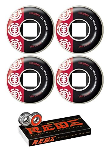 Element Skateboards 52mm Section Skateboard Wheels with Bones Bearings - 8mm Bones Reds Precision Skate Rated Skateboard Bearings - Bundle of 2 Items
