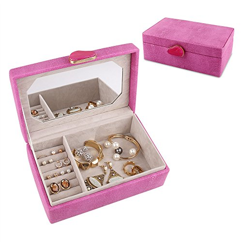 A Comely Jewelry Box Accessories Storage Organizer Case, Shagreen Leather, Delicate Agate Handle Design with Mirror (Pink)