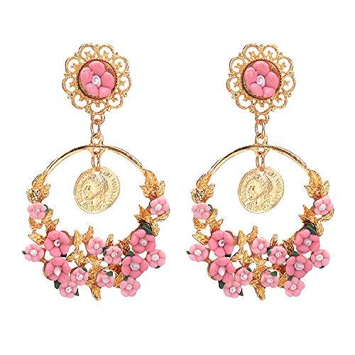 056c689418b5 Dana Carrie Europeos y Americanos retro joyas jardin de flores en el gran  círculo aretes Rosa