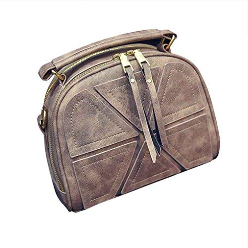 Republe Estilo Vintage hombro de la manera triangular empalme Ocio bolsa de la correa de cuero pequeña solapa del bolso de Crossbody del bolso mujeres de la muchacha marrón claro