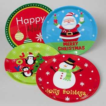 Christmas Platters And Trays.13 Round Christmas Printed Plastic Serving Trays Pack Of 4 Styles Party Table Supplies Platters For
