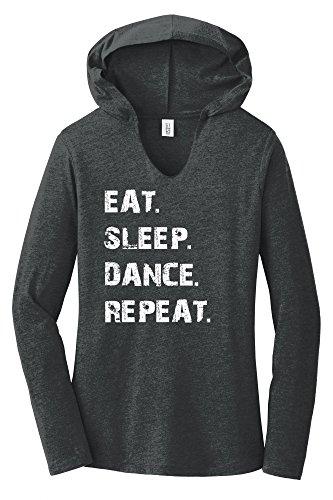Comical Shirt Ladies Eat Sleep Dance Repeat Black Frost 2XL