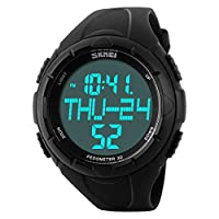 Fanmis Reloj para deportes al aire libre simple para hombres Big Face Podómetro Reloj Reloj digital multifunción Negro